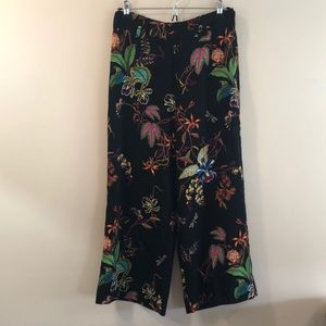 H&M Wide Leg Floral Crop Pants
